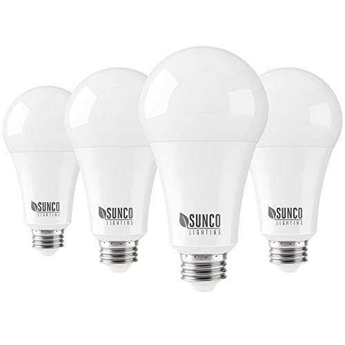 Sunco Lighting 4 Pack A21 LED Bulb 22W=150W, 5000K Daylight, 2550 LM, E26 Base, Dimmable, Indoor Light for Lamp - UL & Energy Star