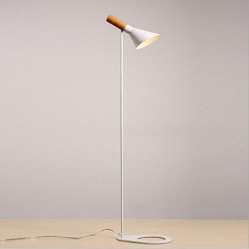 Lámparas de piso Luz de piso Lámpara de pie de hierro forjado de madera sólida minimalista nórdico, lámpara vertical en forma de trompeta creativa, lámpara de pie de la sala de estudio de estudio, H