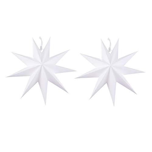Uonlytech stern papier lampenschirm faltbare sternförmige anhänger lampenschirm weihnachtsstern lampenschirm für party dekoration (2 stücke 30 cm weiß