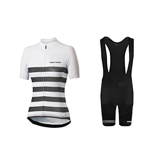 Uglyfrog+ Radtrikot Damen Kurzarm Fahrradbekleidung Set Outdoor Sports Radfahren Jersey + Radfahren Latzhose Shorts im Sommer