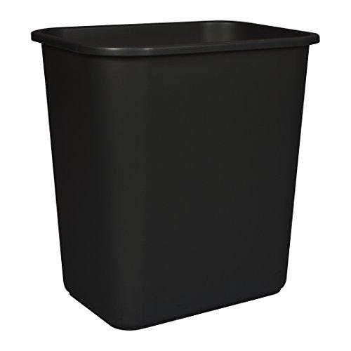 Storex Medium Waste Basket, 15 x 10.5 x 15 Inches, Black, 1 Count (00710A24C)