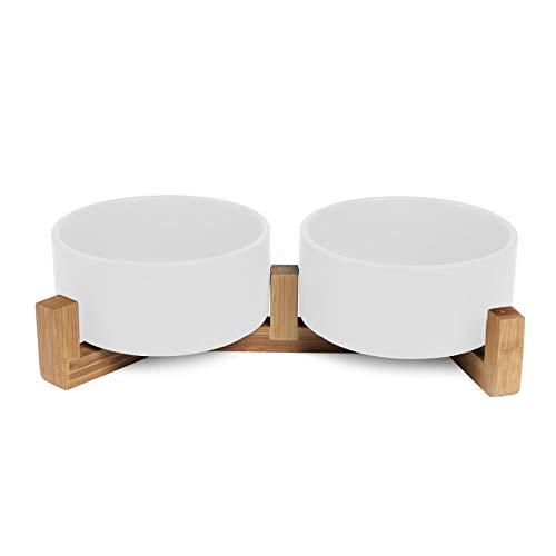 SPUNKYJUNKY Ciotola doppia in ceramica per cani e gatti (400ml, bianca)