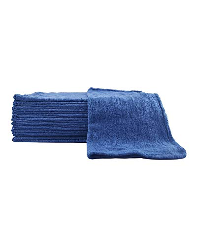 Sara Glove 14x14 Inch Shop Towel/Cleaning Mechanic Rags - 100% Cotton Commercial Towels, Perfect for Automotive Garage, Kitchen, Home (Blue) (100 Count)