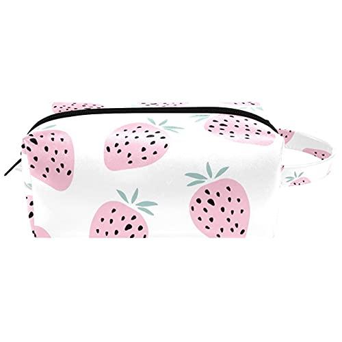 Bolsa de embalaje de viaje pequeña bolsa de maquillaje neceser bolsa de cosméticos impermeable con cremallera bolsa de cosméticos organizador de accesorios para mujeres rosa verano fruta fresa