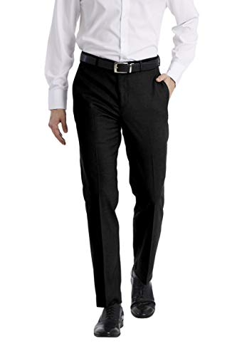 Perry Ellis Men's Two Piece Finished Bottom Slim Fit Suit, Black Dobby, 42 Regular