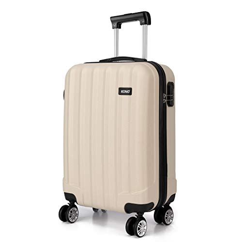Kono Lightweight Cabin Suitcase 55x35x20cm Hard Shell ABS Luggage with 4 Wheels Carry On Hand Travel Suitcases (Small, Beige)