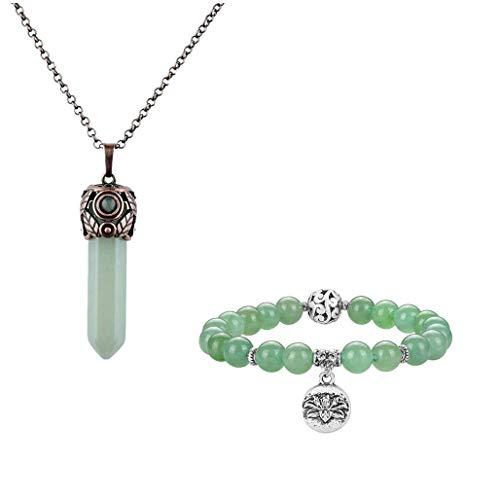 CrystalTears Chakra Set Collana + Bracciale in Pietra Naturale per Donna Regolabile Vintage Ciondolo di Lotus Gioielli Preziosi,Avventurina Verde