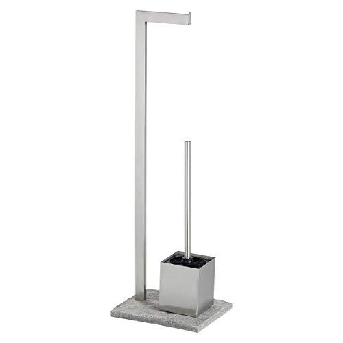 Wenko Stand WC-Garnitur Granit, Ständer für Toilettenpapier, Toilettenbürste, WC-Papierhalter in Stein-Optik, stehender Rollenhalter inkl.Bürste, rostfreier Edelstahl, 23 x 73,5 x 19,5 cm, grau-silber