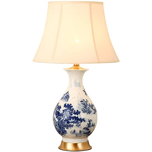 SDFDSSR Lámpara de Mesa de cerámica de Cobre Americano Lámpara de Noche de Dormitorio de Estilo Chino Jingdezhen Sala de Estudio Azul y Blanca Sala de Estar Lámpara de Mesa Luces de Navidad