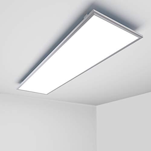 OUBO LED Panel 120x30cm Kaltweiß / 48W / 4600lm / 6000K / Silberrahmen Lampe dünn Ultraslim Deckenleuchte Wandleuchte Einbauleuchten, inkl. Trafo und Anbauwinkel