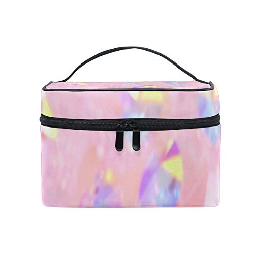 Sac de maquillage Bijoux en diamant rose Sac cosmétique Grand sac de toilette portable pour femmes/filles Voyage
