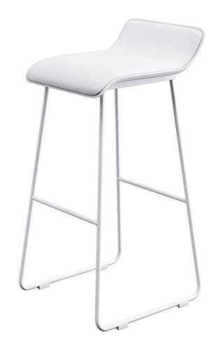 genneric Sillas de Bar taburetes Bar Taburete de la Barra de café de Oficina de Negocios cómodo sillón de Maquillaje Taburete tapizado (Color : White-White Leg, Size : 65cm)