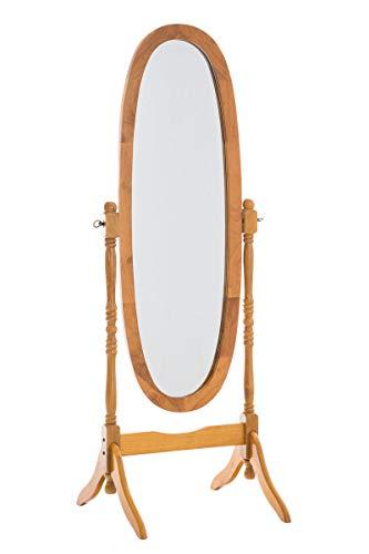 CLP Holz-Standspiegel Cora I Ovaler freistehender Spiegel im Landhausstil I Neigbarer Ganzkörperspiegel mit Holzgestell I Größe 150 x 60 cm, Farbe:Eiche