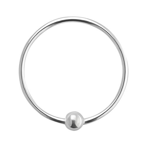 AZARIO LONDON 10MM Diameter - Captive Bead Hoop Nose Ring 925 Sterling Silver Nose Piercing Ring