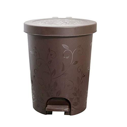 1yess Müll-Fach-Kunststoff-Recycling-Bin-Abfallabfall können Papierbins Mülleimer mit Deckel-Druck-Altpapier Schlafzimmer Küche Abfallbehälter (Farbe: hellgrün, Größe: b) (Color : Brown, Size : A)
