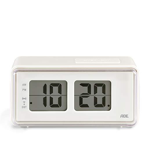 ADE Digitaler Funkwecker CK1720 (Wecker im Retro-Look mit LCD-Display im Klappzahlen-Design, Snooze-Taste, Nachtlicht, inklusive Batterie) weiß