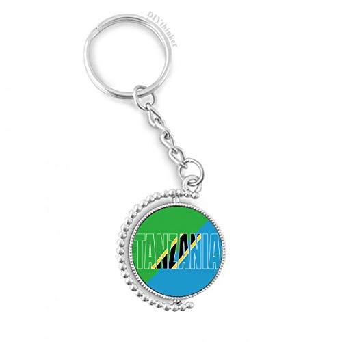 DIYthinker Mannen Tanzania Land Vlag Naam Draaibare Sleutelhanger Ring Sleutelhouder 1,2 inch x 3,5 inch Multi kleuren