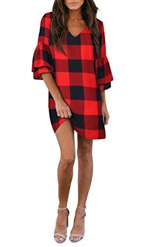 BELONGSCI Women's Dress Sweet & Cute V-Neck Bell Sleeve Shift Dress Mini Dress (Red Big Plaid, XS)