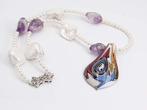 Glas Anhänger mit Perlenkette, hochwertiger Modeschmuck