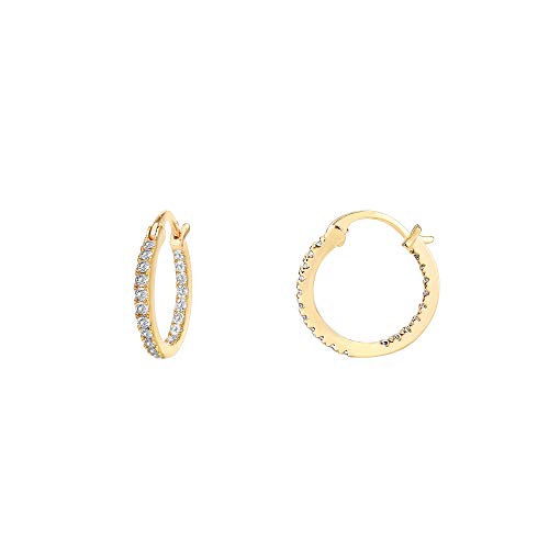PAVOI 14K Gold Plated 925 Sterling Silver Post Cubic Zirconia Hoop Earrings | Small Yellow Gold Hoops