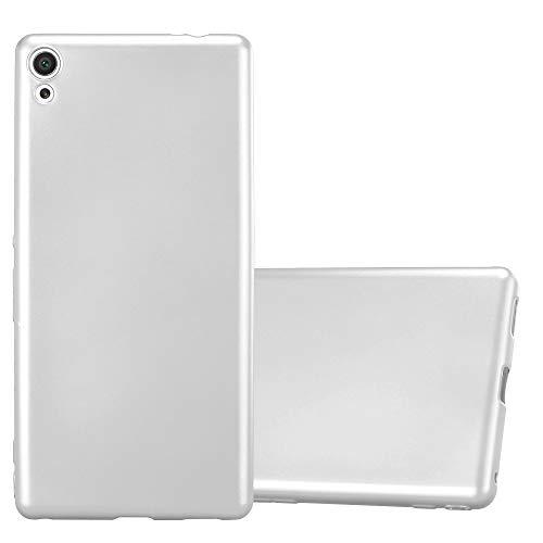 Cadorabo Funda para Sony Xperia XA Ultra en Metallic Plateado - Cubierta Proteccíon de Silicona TPU Delgada e Flexible con Antichoque - Gel Case Cover Carcasa Ligera