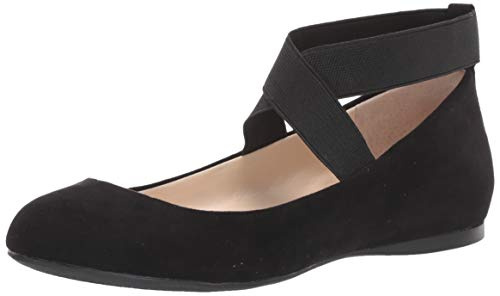 Jessica Simpson Women's Mandayss Ballet Flat, Black Micro Suede