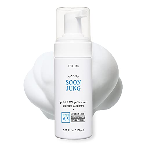 ETUDE HOUSE SoonJung pH 6.5 Whip Cleanser 5.1 fl. oz. (150ml) 21AD  Non Comedogenic & Hypoallergenic Soft Bubble Hydrating Facial Cleanser for Sensitive Skin   Fragrance-Free Low-pH Korean Face Wash