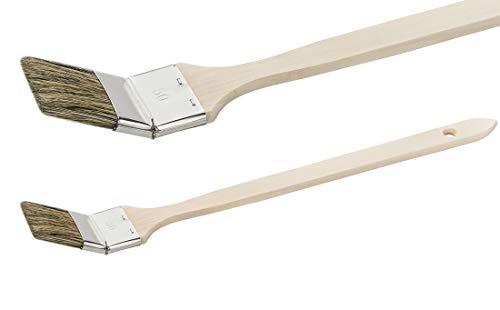 24 x Colorus Heizkörperpinsel 50 mm | Eckenpinsel graue Chinaborste | Heizkörper-Pinsel Set | Für leicht lösemittelhaltige, leicht wässrige Farben, Lacke | Farbpinsel Lackpinsel Malerpinsel