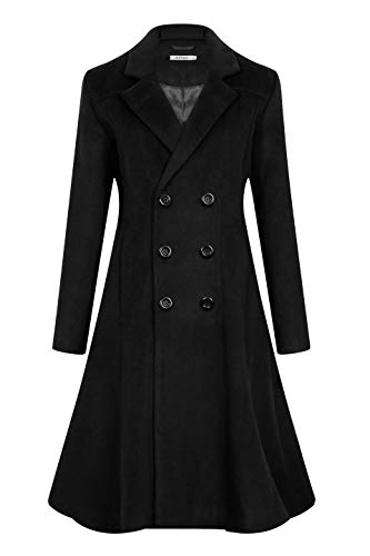 Women's Winter Long Wool Dress Coat Elegant Long Slim Fit Coat WS02 Black S