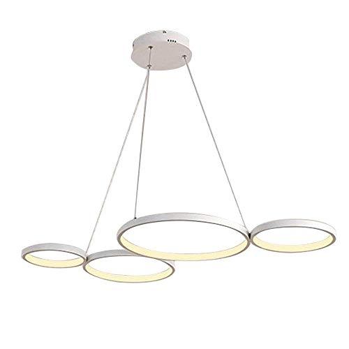 Lámpara colgante LED en forma de H y aumento, regulable con mando a distancia, 46 W, 3220 lm, moderna 4 anillos, para salón, cocina, isla, comedor, dormitorio, bar, oficina