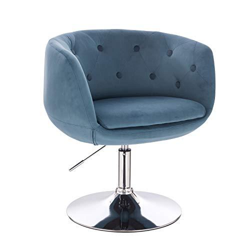 SVITA Panama Retro Loungestuhl Polsterstuhl Cocktailsessel Blau Petrol Samt-Optik Tellerfuß