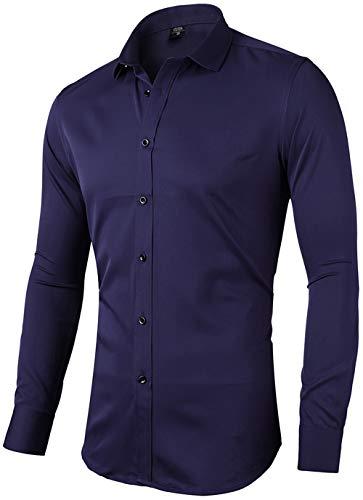 INFlATION Herren Hemd aus Bambusfaser umweltfreudlich Elastisch Slim Fit für Freizeit Business Hochzeit Reine Farbe Hemd Langarm,DE 2XL (Etikette 44),Navy Blau