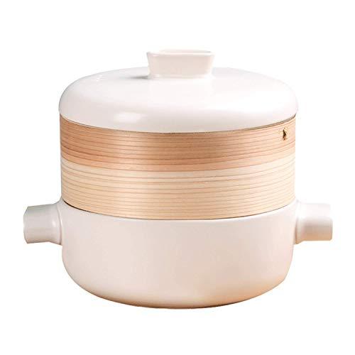 wxqym Vaporera cazuela stefpan Alta Temperatura Resistencia al bambú vaporizador de cerámica Olla de Esmalte