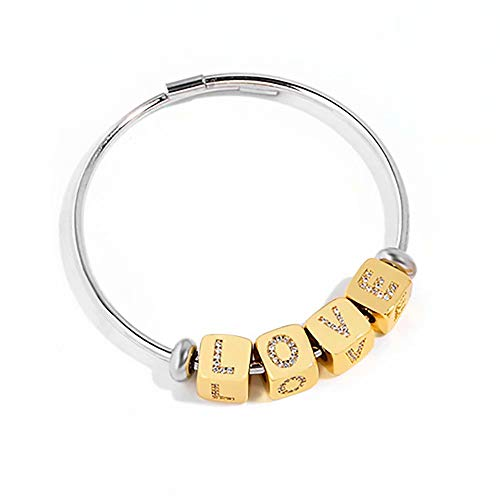 A to Z Letter Bracelet Personalized Initial Bracelet Alphabet Bangle Expandable Wire Anklet Stainless Steel Jewelry for Women Men Couple Friendship Gifts