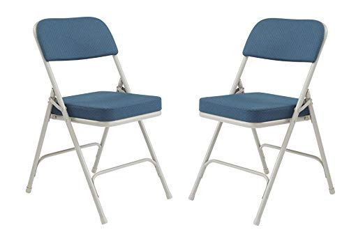 National Public Seating 3200 Series Steel Frame Upholstered Premium Fabric Seat and Back Folding Chair with Double Brace, 300 lbs Capacity, Regal Blue/Gray (Carton of 2)
