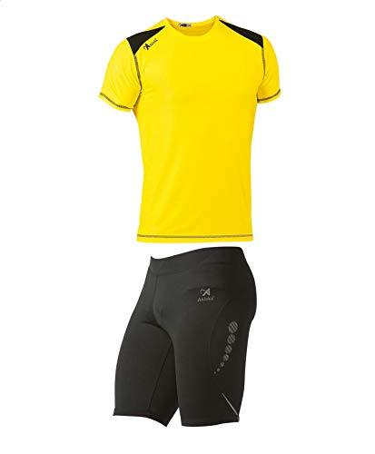 ASIOKA 115/17-182/17 Pack Malla Compresiva + Camiseta técnica combinada, Unisex Adulto, Negro/Amarillo/Marengo, M