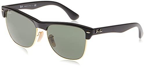 Ray-Ban Ray-Ban Unisex Clubmaster Oversized Sonnenbrille, Schwarz (Gestell: schwarz, Gläserfarbe: grün klassisch, Umrandung der Gläser: Gold 877), Large (Herstellergröße: 57)
