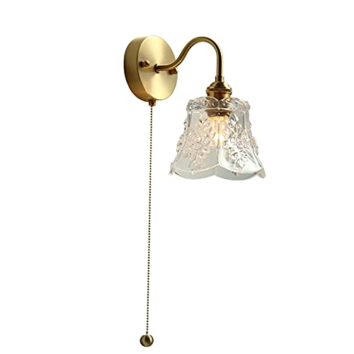 FSLiving Lámpara de pared con interruptor de cadena y pantalla de cristal transparente, decoración moderna minimalista de pared para salón, dormitorio, casquillo E27, cableado fijo, fácil de instalar