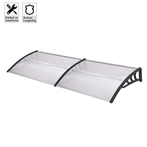 Froadp 300x100cm Pultvordach Vordach Türdach Sonnenschutz Pultbogenvordach Vordach Regenschutz Überdachung(Grau)