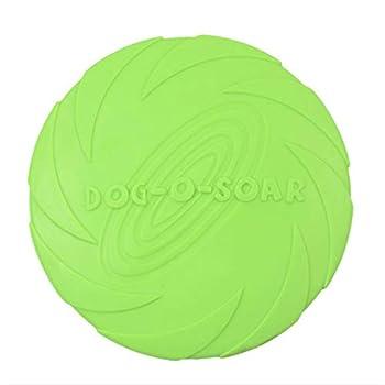 Frisbee d'entraînement pour chien en caoutchouc souple résistant aux morsures Vert 22 cm