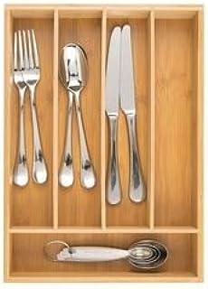mDesign Boite à Couvert en Bambou – Range Couverts pour tiroir Moderne – Organisateur tiroir pour la Cuisine, Le Bureau, l...