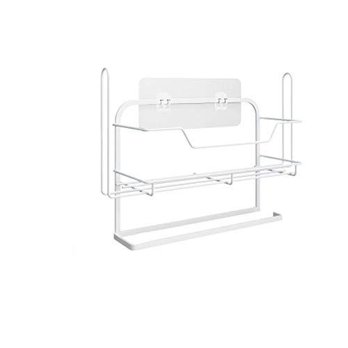 携帯用灰皿 冷蔵庫の棚の横にある収納ラックキッチンラップフィルムペーパータオル調味料ラックフリーパンチング壁掛けストレージパンチフリーの多機能シンプルなキッチンシェルフ (Color : Package two)