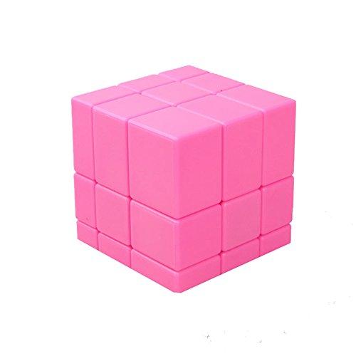 HJXDtech-Shengshou Irregular 3x3x3 Espejo Cubo mágico Profesional Liso Racing Cube (Rosado)