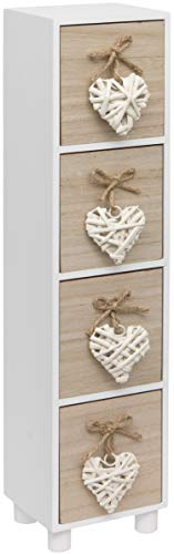 Maturi Woven Heart Wooden Four Drawer Trinket Box Chest, Brown and White, 44.5 x 11 x 9.5 cm