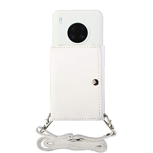 ShinyCase para Huawei Mate 30 Pro,PU Billetera Que se Adhiere a la Parte Posterior la Cubierta del Teléfono TPU,con Cordón,Prueba de Golpes Silicona Funda para Huawei Mate 30 Pro Blanco
