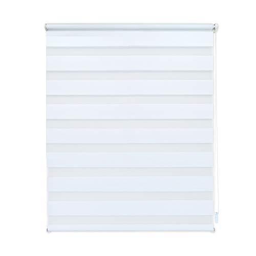 EXKLUSIV HEIMTEXTIL Duo Doppelrollo Klemmfix Fensterrollo ohne Bohren mit Pendelsicherung weiß 60 x 160 cm