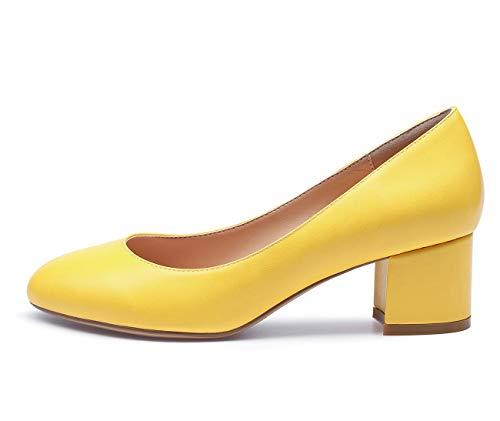CASTAMERE Damen Mittel Heels Runde Zehen Sexy Elegant Pumps Blockabsatz 5CM Gelb Pu Schuhe EU 41