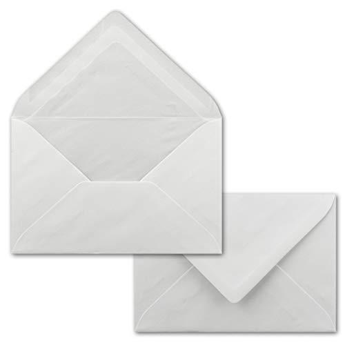 100x Briefumschläge, weiß mit Seidenfutter DIN C6-11,2 x 16 cm - mit Nassklebung, weiß 90 g/m², Klassische Spitze Klappe