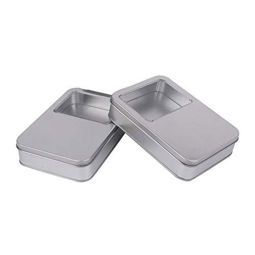 kowaku Caja de Almacenamiento de Caja de Lata de Metal de Ventana Transparente Rectangular de Lata Vacía Rectangular de 2 Piezas