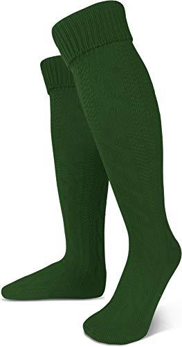 normani Oktoberfest Trachtenkniestrümpfe oder Trachtensocken mit Umschlag Größen wählbar Farbe Jagdgrün extra lang Größe 43/46